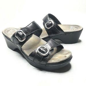 Dansko Slip On Sandals Platform Buckles Leather
